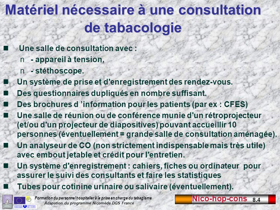 Nico-hop-cons 8.4 Formation du personnel hospitalier à la prise en charge du tabagisme Adapation du programme Nicomède DGS France Une salle de consult