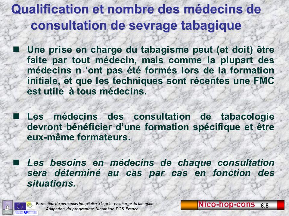 Nico-hop-cons 8.9 Formation du personnel hospitalier à la prise en charge du tabagisme Adapation du programme Nicomède DGS France Du personnel spécifique ( ou du temps de personnel spécifique) doit être mis à disposition pour la tabacologie.