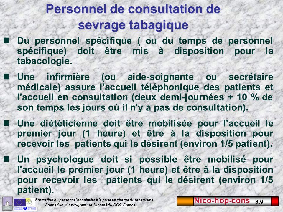 Nico-hop-cons 8.20 Formation du personnel hospitalier à la prise en charge du tabagisme Adapation du programme Nicomède DGS France Suggestions européenne dauto-évaluation de la qualité de la consultation Critère 1 : Un médecin est spécialement en charge de la consultation (minimum fois par semaine).