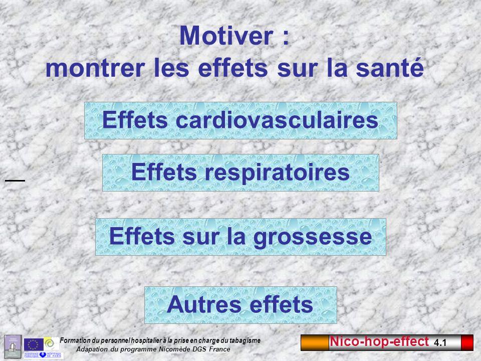 Nico-hop-effect 4.1 Formation du personnel hospitalier à la prise en charge du tabagisme Adapation du programme Nicomède DGS France Autres effets Moti