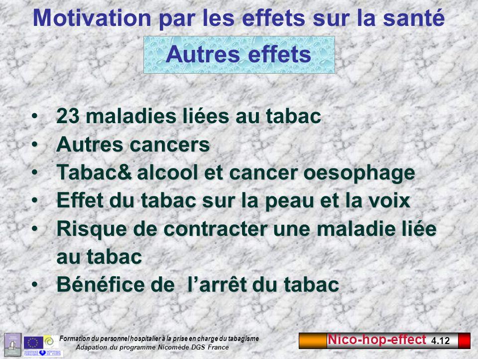 Nico-hop-effect 4.12 Formation du personnel hospitalier à la prise en charge du tabagisme Adapation du programme Nicomède DGS France Autres effets Mot
