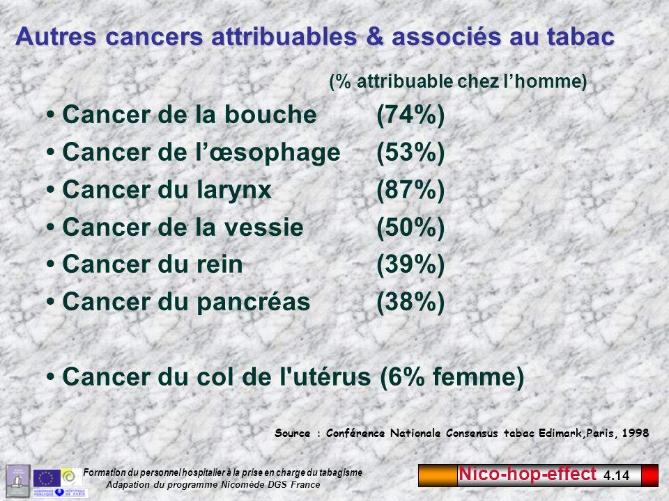Nico-hop-effect 4.14 Formation du personnel hospitalier à la prise en charge du tabagisme Adapation du programme Nicomède DGS France (% attribuable ch