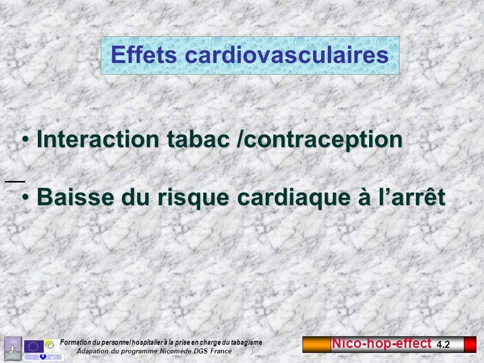 Nico-hop-effect 4.2 Formation du personnel hospitalier à la prise en charge du tabagisme Adapation du programme Nicomède DGS France Effets cardiovascu