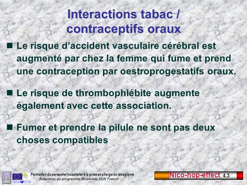 Nico-hop-effect 4.3 Formation du personnel hospitalier à la prise en charge du tabagisme Adapation du programme Nicomède DGS France Le risque dacciden