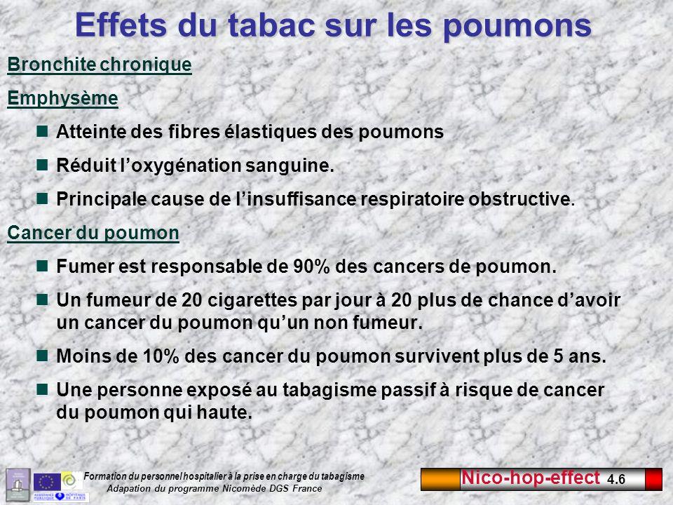 Nico-hop-effect 4.6 Formation du personnel hospitalier à la prise en charge du tabagisme Adapation du programme Nicomède DGS France Bronchite chroniqu