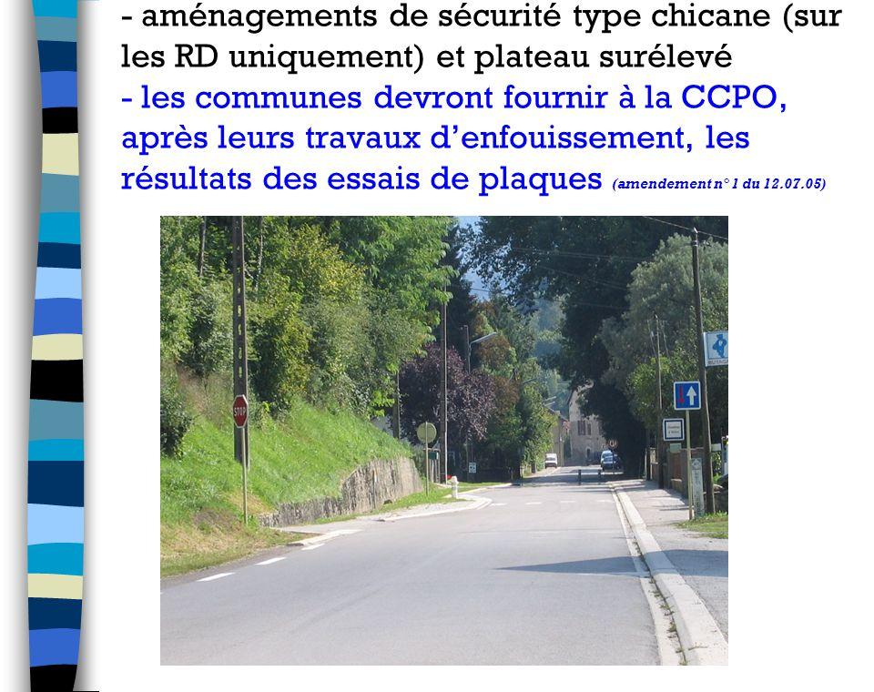 - aménagements de sécurité type chicane (sur les RD uniquement) et plateau surélevé - les communes devront fournir à la CCPO, après leurs travaux denfouissement, les résultats des essais de plaques (amendement n° 1 du 12.07.05)