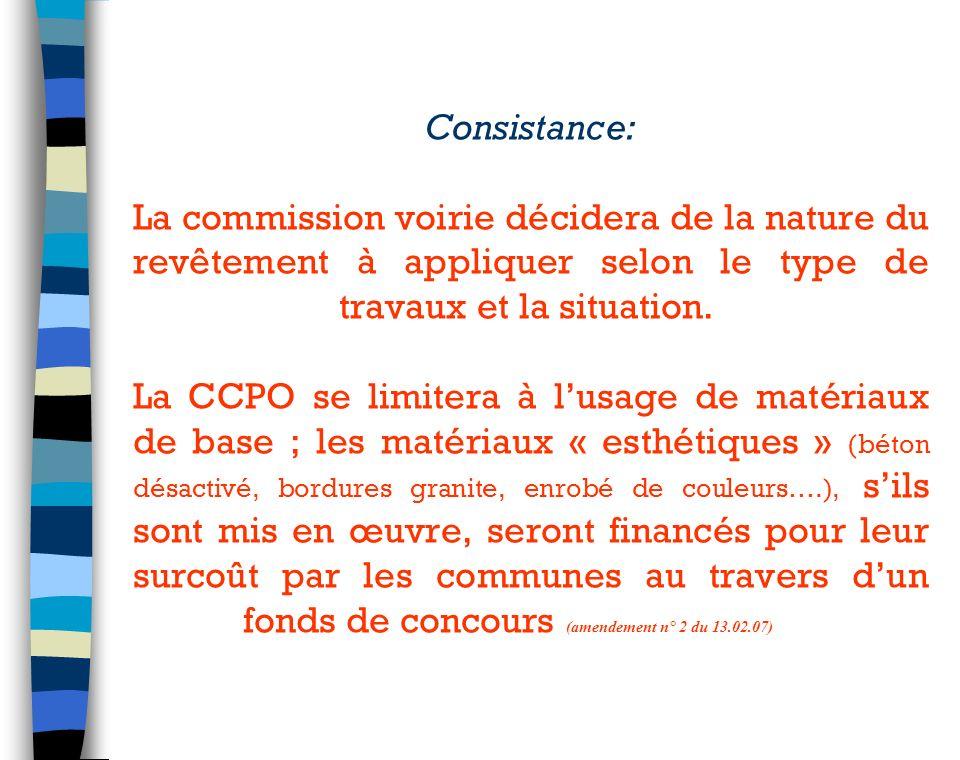 Consistance: La commission voirie décidera de la nature du revêtement à appliquer selon le type de travaux et la situation.