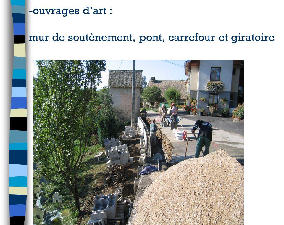 -ouvrages dart : mur de soutènement, pont, carrefour et giratoire