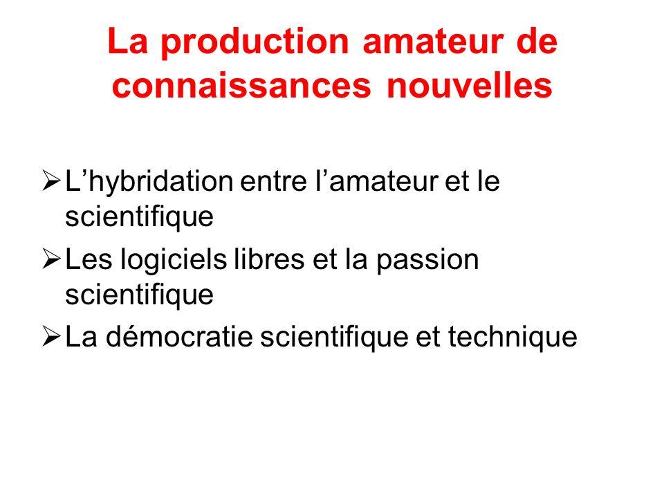 La production amateur de connaissances nouvelles Lhybridation entre lamateur et le scientifique Les logiciels libres et la passion scientifique La démocratie scientifique et technique