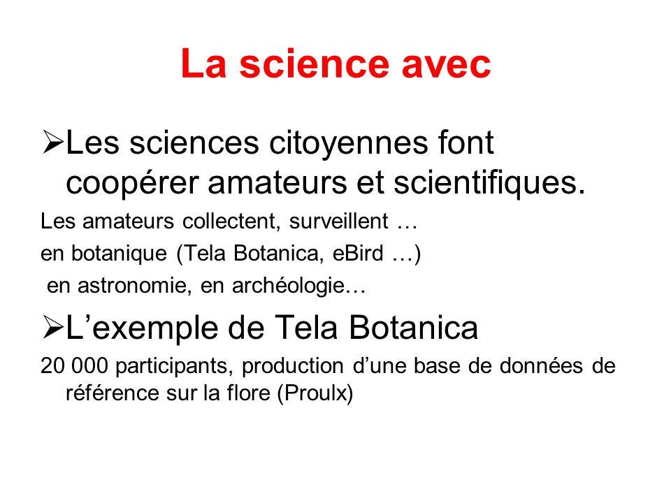 La science avec Les sciences citoyennes font coopérer amateurs et scientifiques.