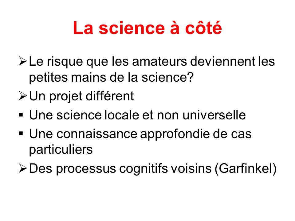 La science à côté Le risque que les amateurs deviennent les petites mains de la science.