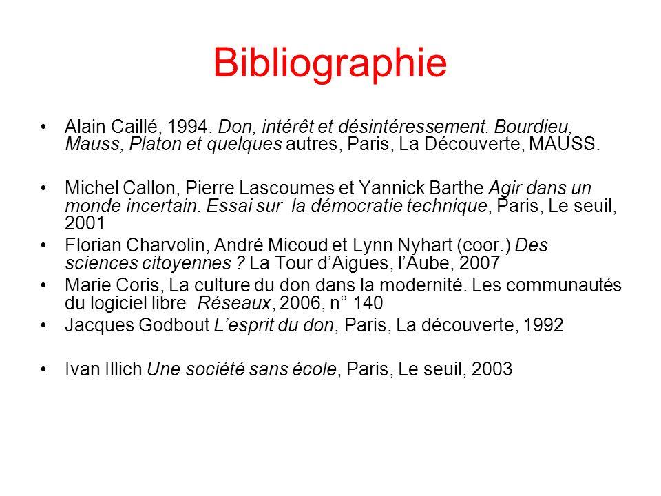 Bibliographie Alain Caillé, 1994.Don, intérêt et désintéressement.