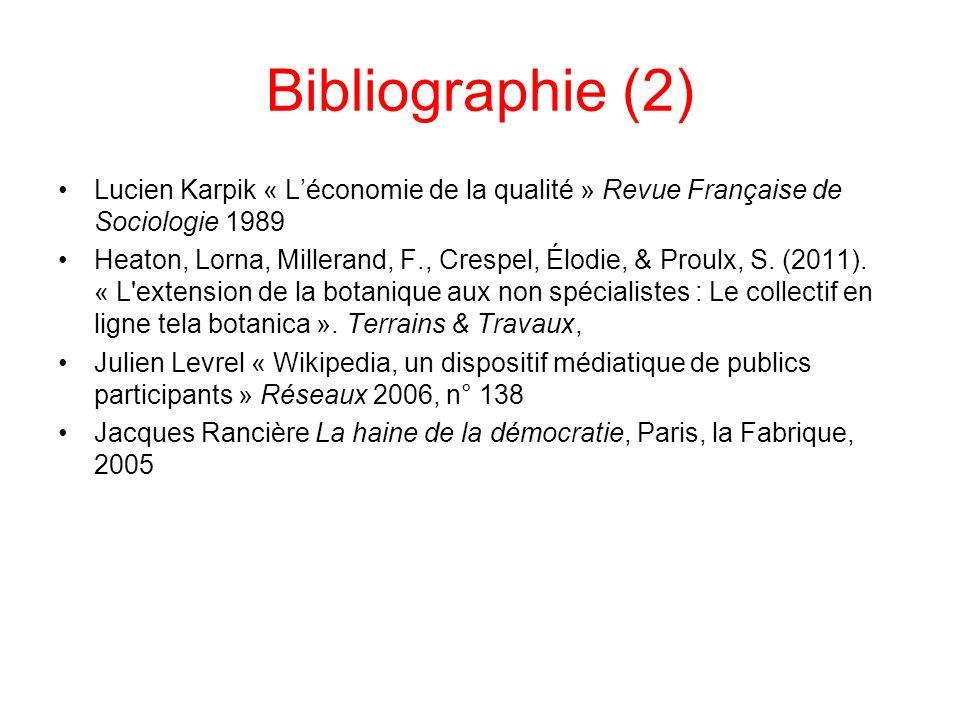 Bibliographie (2) Lucien Karpik « Léconomie de la qualité » Revue Française de Sociologie 1989 Heaton, Lorna, Millerand, F., Crespel, Élodie, & Proulx, S.