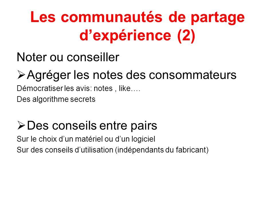 Les communautés de partage dexpérience (2) Noter ou conseiller Agréger les notes des consommateurs Démocratiser les avis: notes, like….