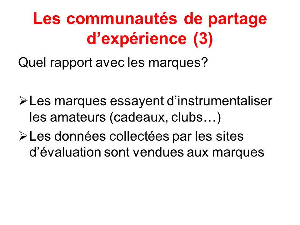 Les communautés de partage dexpérience (3) Quel rapport avec les marques.