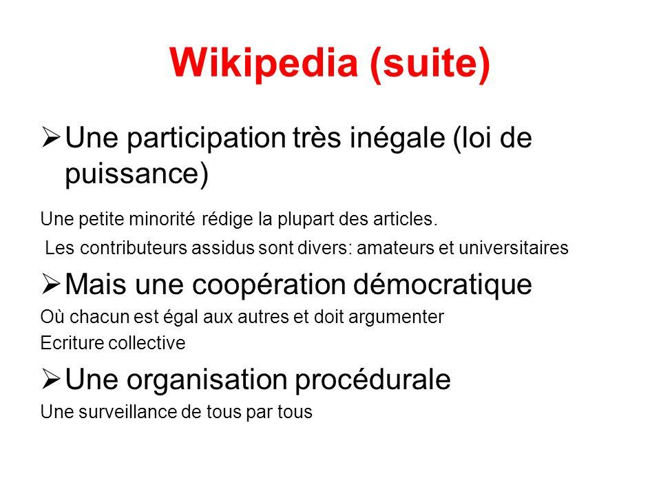Wikipedia (suite) Une participation très inégale (loi de puissance) Une petite minorité rédige la plupart des articles.