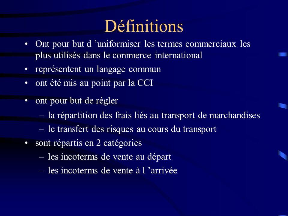 Définitions Ont pour but d uniformiser les termes commerciaux les plus utilisés dans le commerce international représentent un langage commun ont été