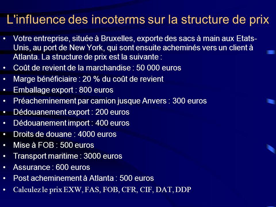 L'influence des incoterms sur la structure de prix Votre entreprise, située à Bruxelles, exporte des sacs à main aux Etats- Unis, au port de New York,