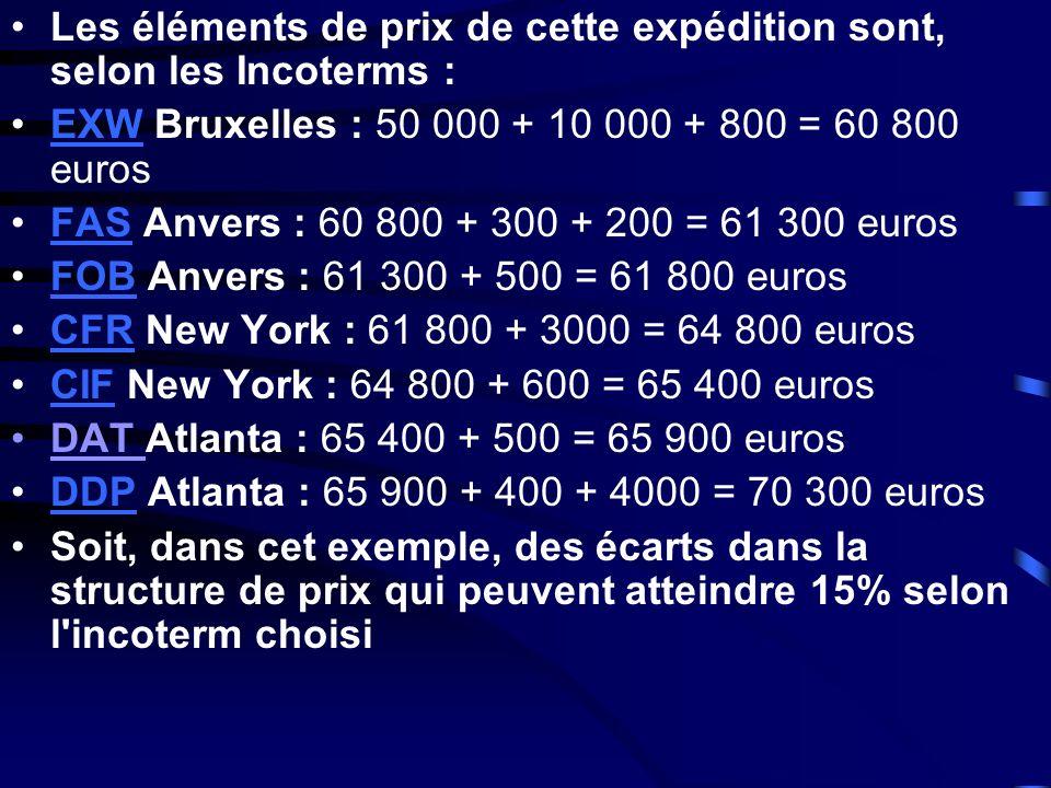 Les éléments de prix de cette expédition sont, selon les Incoterms : EXW Bruxelles : 50 000 + 10 000 + 800 = 60 800 eurosEXW FAS Anvers : 60 800 + 300