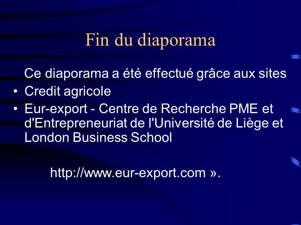 Fin du diaporama Ce diaporama a été effectué grâce aux sites Credit agricole Eur-export - Centre de Recherche PME et d'Entrepreneuriat de l'Université