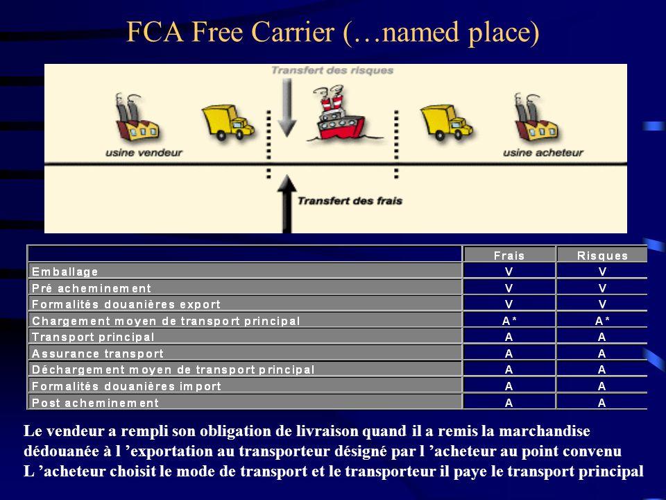 FCA Free Carrier (…named place) Le vendeur a rempli son obligation de livraison quand il a remis la marchandise dédouanée à l exportation au transport