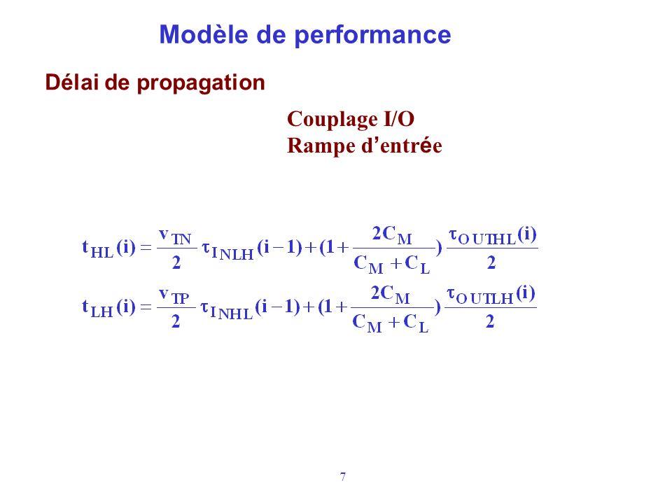 7 Modèle de performance Délai de propagation Couplage I/O Rampe d entr é e
