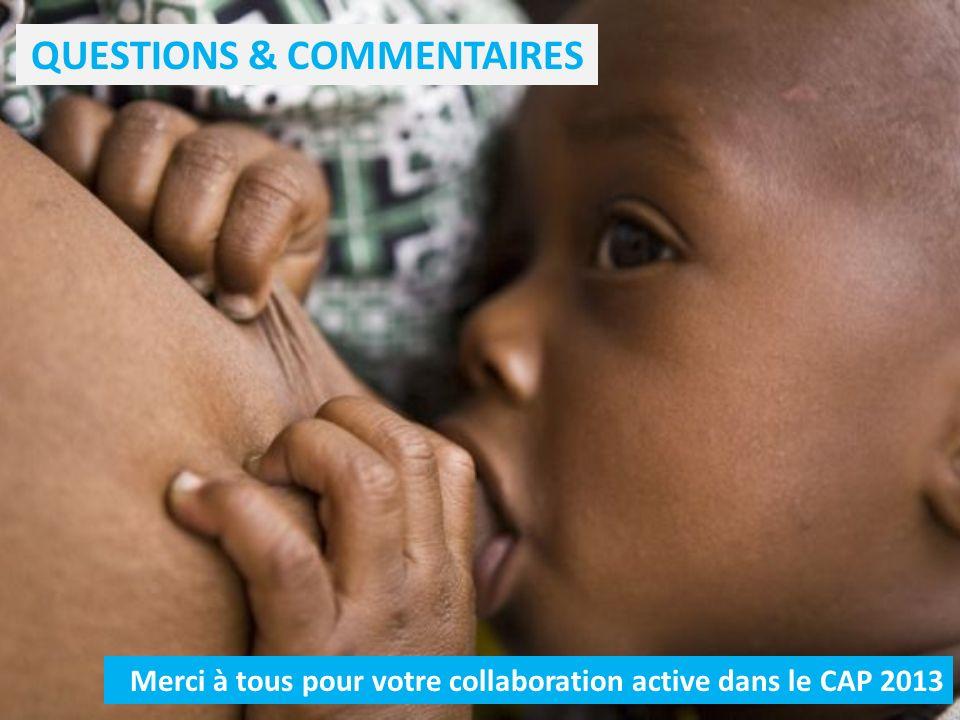 QUESTIONS & COMMENTAIRES Merci à tous pour votre collaboration active dans le CAP 2013