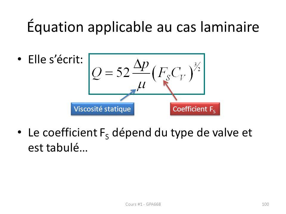Équation applicable au cas laminaire Elle sécrit: Le coefficient F S dépend du type de valve et est tabulé… Viscosité statique Coefficient F S Cours #1 - GPA668100