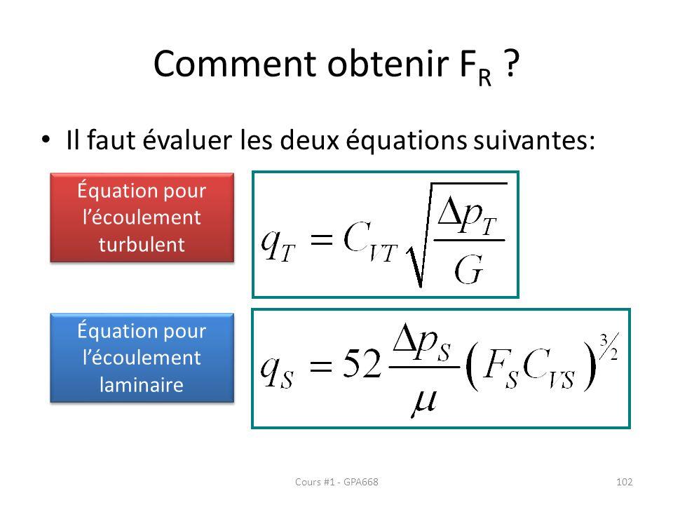 Comment obtenir F R ? Il faut évaluer les deux équations suivantes: Équation pour lécoulement turbulent Équation pour lécoulement laminaire Cours #1 -