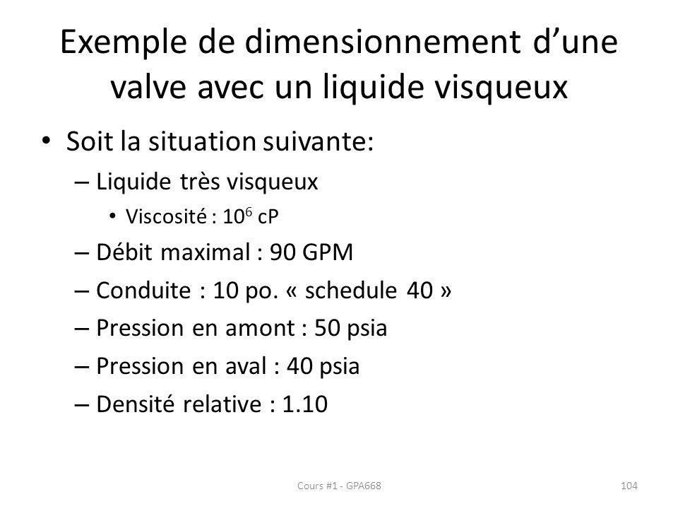 Exemple de dimensionnement dune valve avec un liquide visqueux Soit la situation suivante: – Liquide très visqueux Viscosité : 10 6 cP – Débit maximal : 90 GPM – Conduite : 10 po.