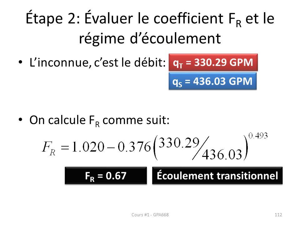 Étape 2: Évaluer le coefficient F R et le régime découlement Linconnue, cest le débit: On calcule F R comme suit: F R = 0.67 Écoulement transitionnel q T = 330.29 GPM q S = 436.03 GPM Cours #1 - GPA668112