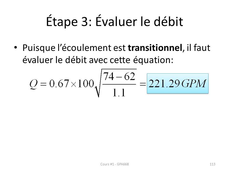 Étape 3: Évaluer le débit Puisque lécoulement est transitionnel, il faut évaluer le débit avec cette équation: Cours #1 - GPA668113