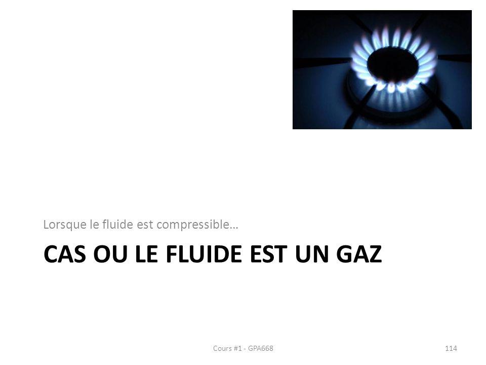CAS OU LE FLUIDE EST UN GAZ Lorsque le fluide est compressible… Cours #1 - GPA668114
