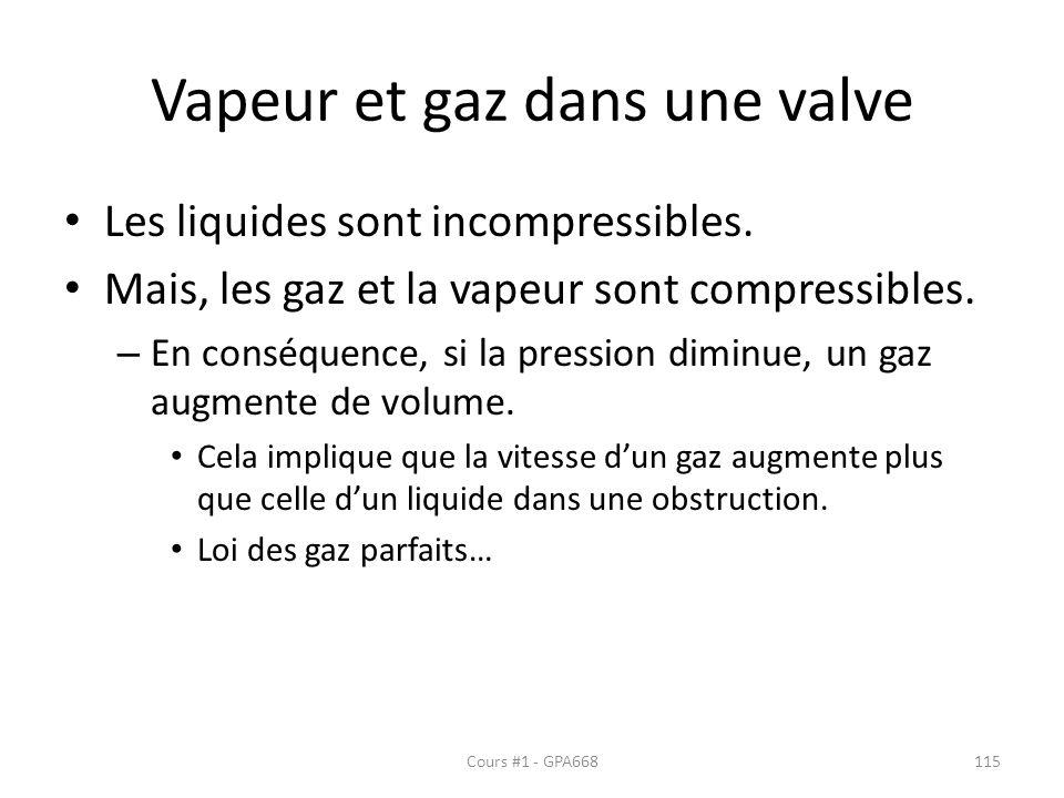 Vapeur et gaz dans une valve Les liquides sont incompressibles.