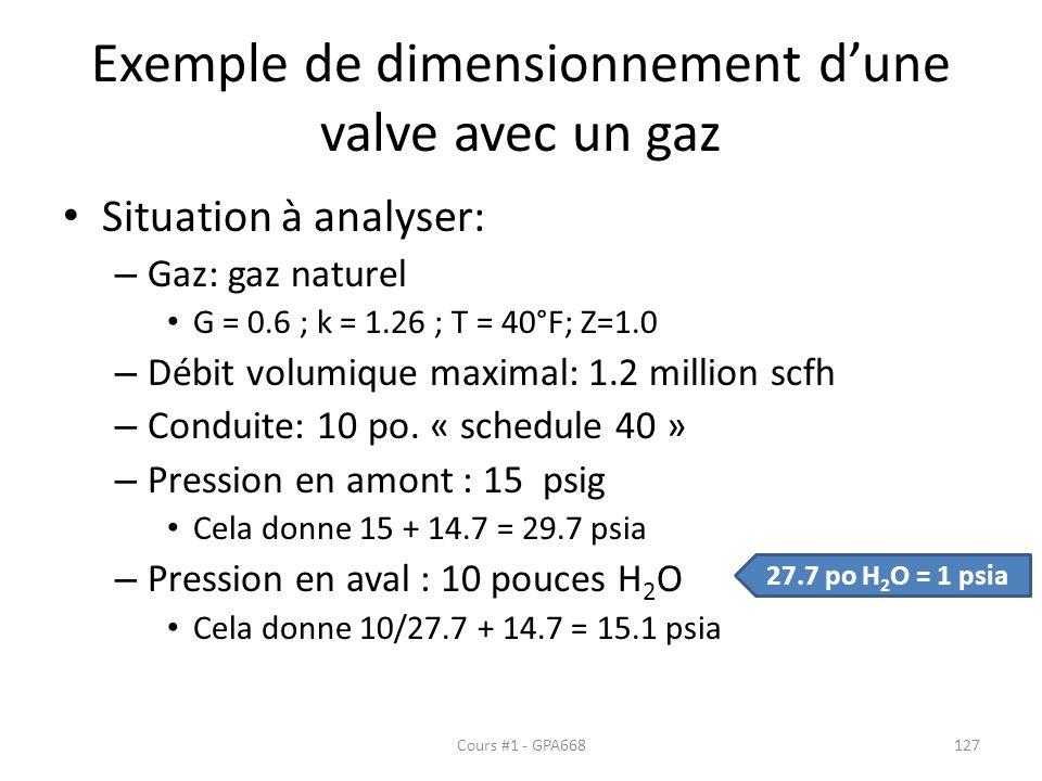 Exemple de dimensionnement dune valve avec un gaz Situation à analyser: – Gaz: gaz naturel G = 0.6 ; k = 1.26 ; T = 40°F; Z=1.0 – Débit volumique maximal: 1.2 million scfh – Conduite: 10 po.