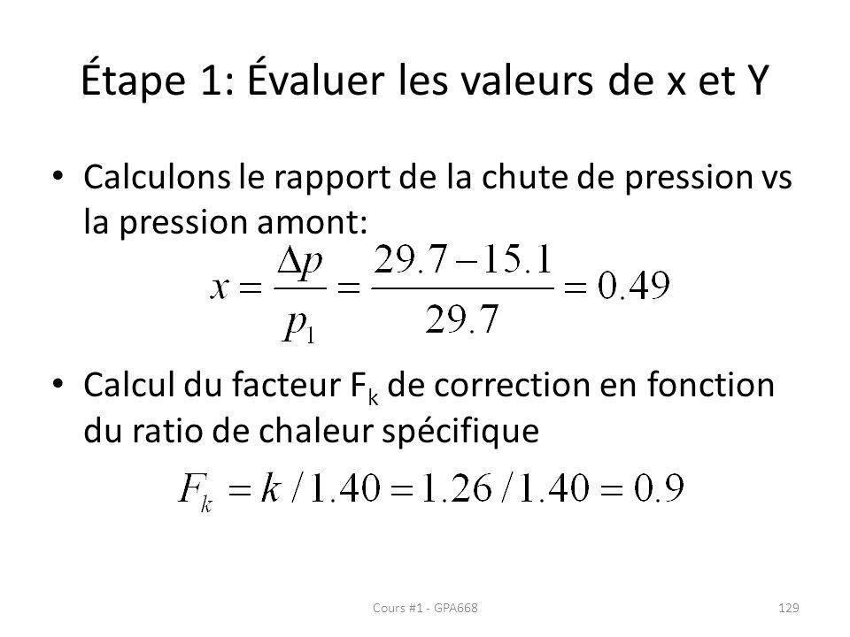 Étape 1: Évaluer les valeurs de x et Y Calculons le rapport de la chute de pression vs la pression amont: Calcul du facteur F k de correction en fonction du ratio de chaleur spécifique Cours #1 - GPA668129