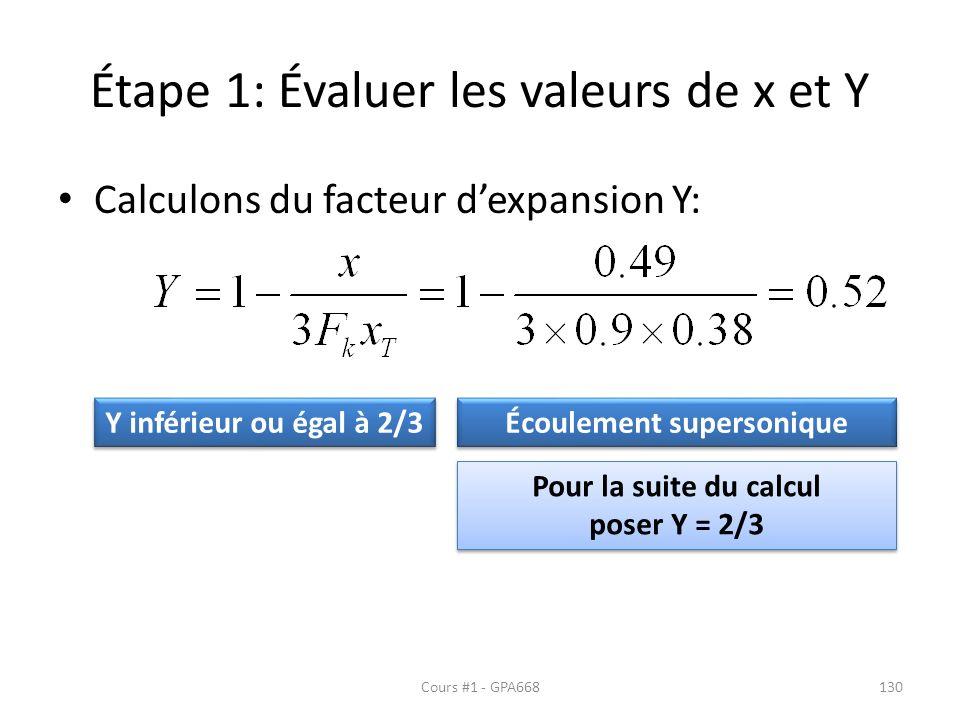 Étape 1: Évaluer les valeurs de x et Y Calculons du facteur dexpansion Y: Y inférieur ou égal à 2/3 Écoulement supersonique Pour la suite du calcul poser Y = 2/3 Pour la suite du calcul poser Y = 2/3 Cours #1 - GPA668130