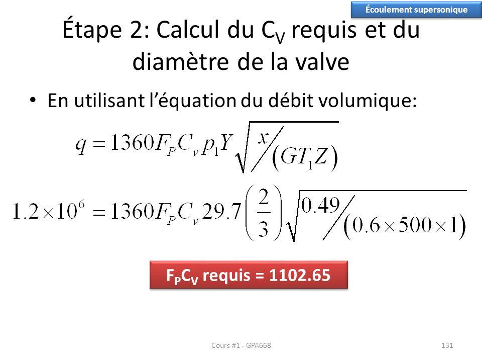 Étape 2: Calcul du C V requis et du diamètre de la valve En utilisant léquation du débit volumique: Écoulement supersonique F P C V requis = 1102.65 Cours #1 - GPA668131