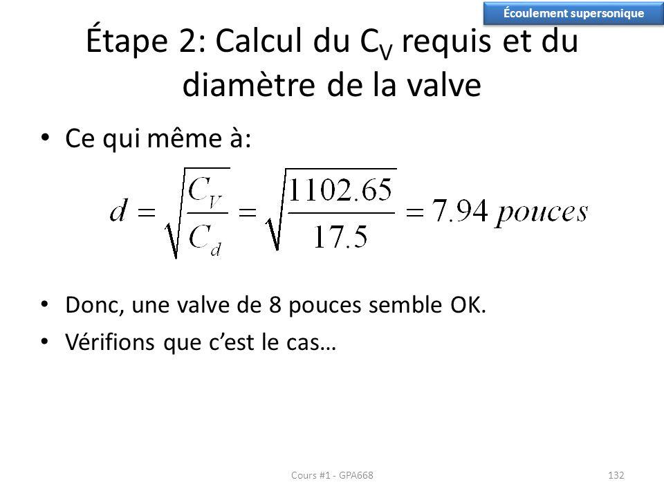 Étape 2: Calcul du C V requis et du diamètre de la valve Ce qui même à: Donc, une valve de 8 pouces semble OK. Vérifions que cest le cas… Écoulement s