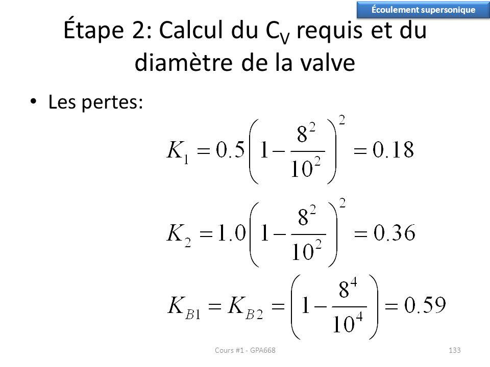 Étape 2: Calcul du C V requis et du diamètre de la valve Les pertes: Écoulement supersonique Cours #1 - GPA668133