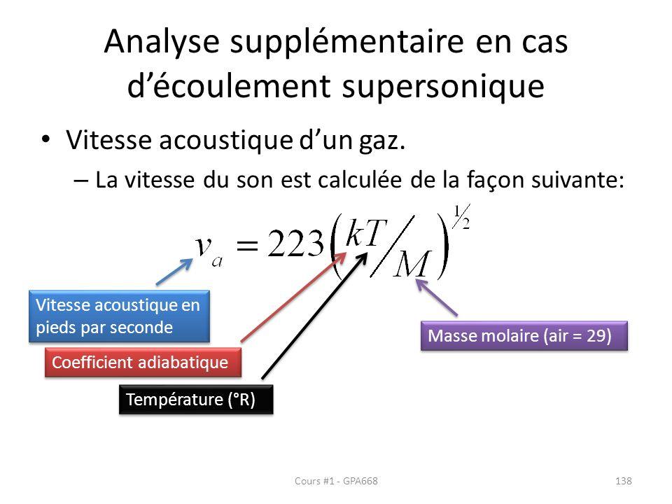 Analyse supplémentaire en cas découlement supersonique Vitesse acoustique dun gaz. – La vitesse du son est calculée de la façon suivante: Vitesse acou