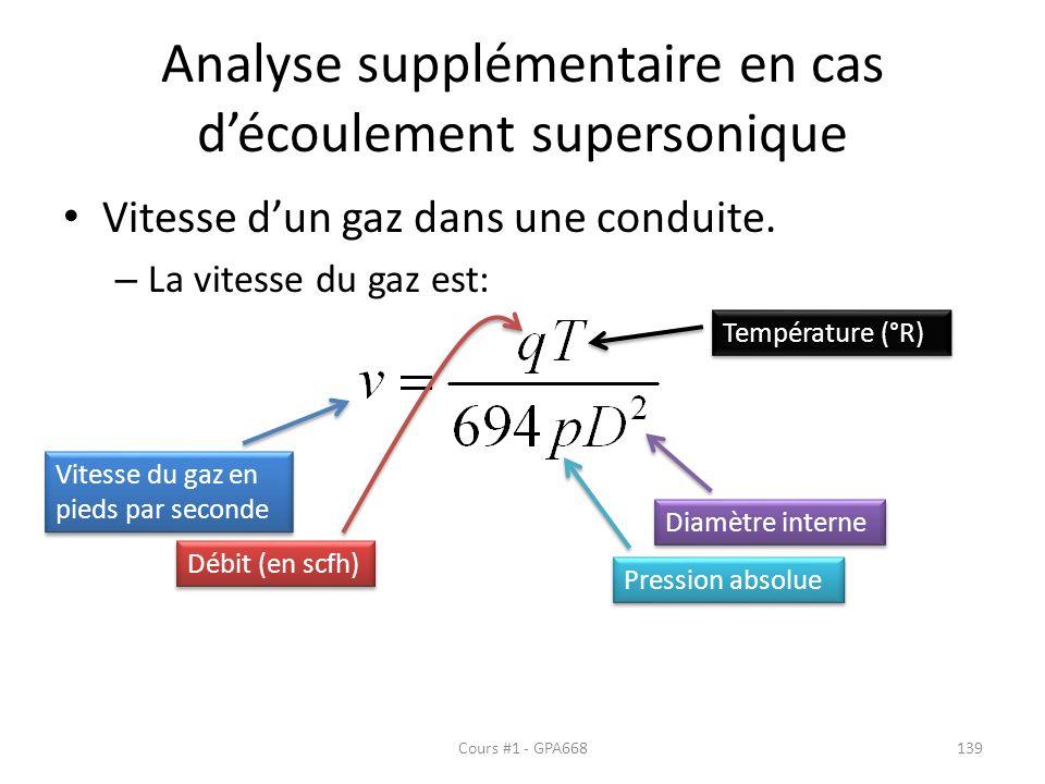 Analyse supplémentaire en cas découlement supersonique Vitesse dun gaz dans une conduite. – La vitesse du gaz est: Vitesse du gaz en pieds par seconde