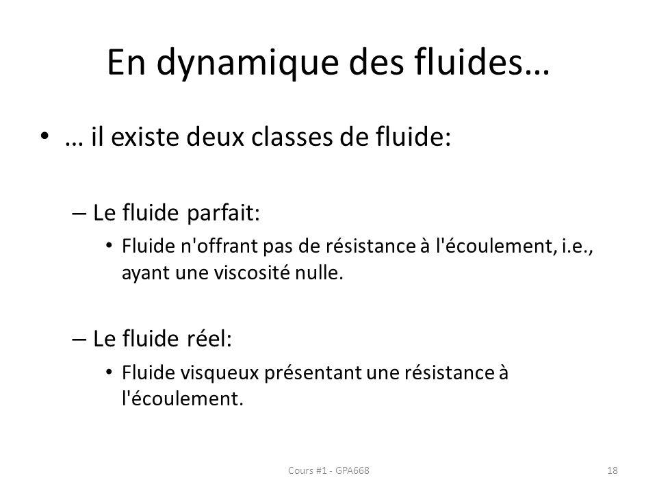 En dynamique des fluides… … il existe deux classes de fluide: – Le fluide parfait: Fluide n offrant pas de résistance à l écoulement, i.e., ayant une viscosité nulle.