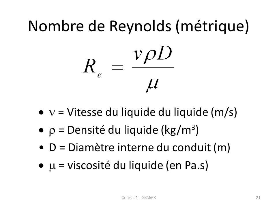 Nombre de Reynolds (métrique) = Vitesse du liquide du liquide (m/s) = Densité du liquide (kg/m 3 ) D = Diamètre interne du conduit (m) = viscosité du liquide (en Pa.s) Cours #1 - GPA66821