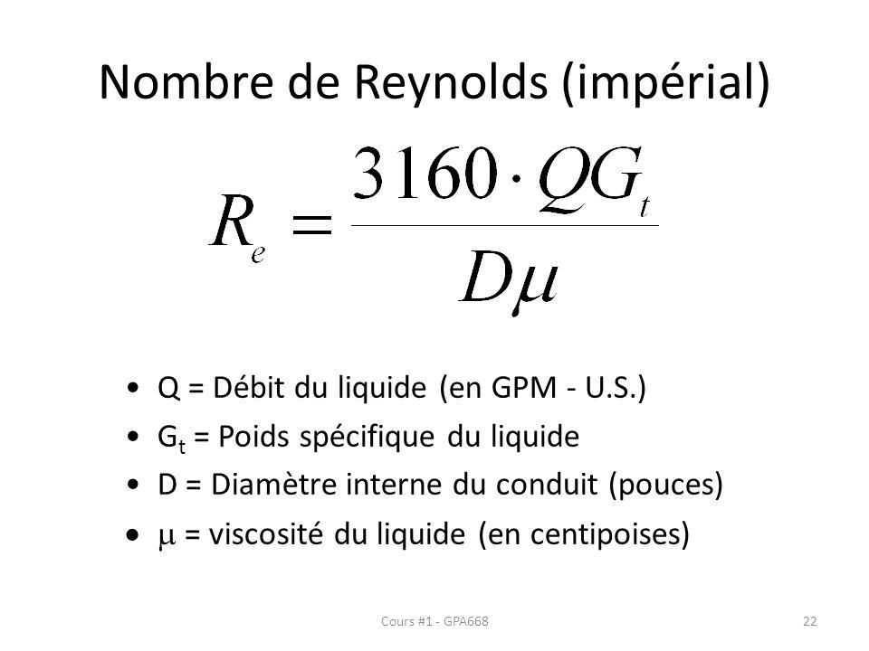 Nombre de Reynolds (impérial) Q = Débit du liquide (en GPM - U.S.) G t = Poids spécifique du liquide D = Diamètre interne du conduit (pouces) = viscos
