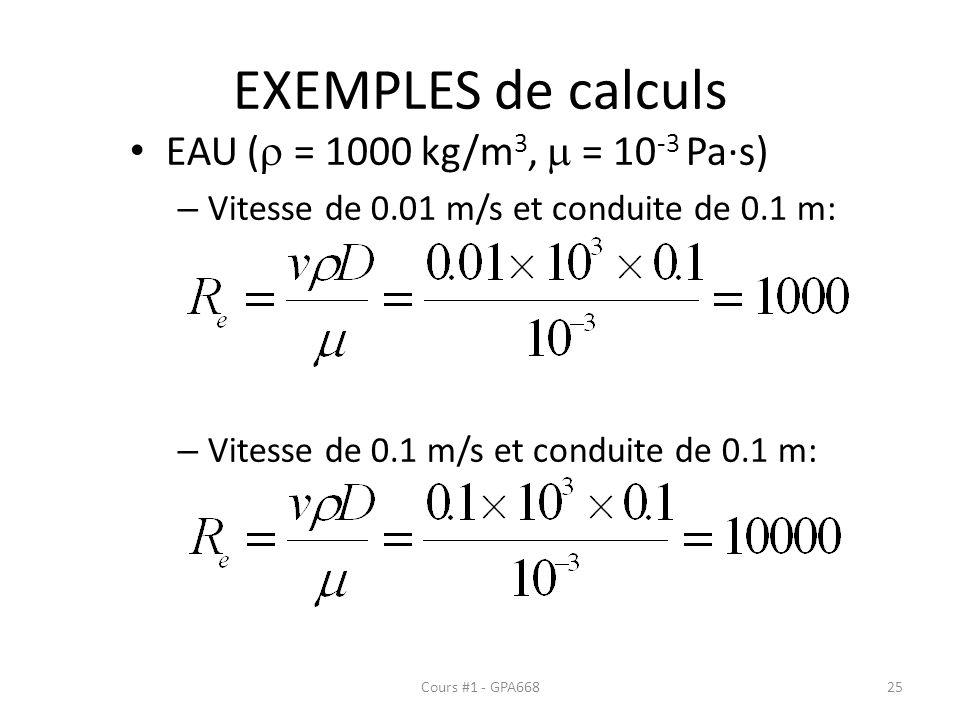 EXEMPLES de calculs EAU ( = 1000 kg/m 3, = 10 -3 Pa·s) – Vitesse de 0.01 m/s et conduite de 0.1 m: – Vitesse de 0.1 m/s et conduite de 0.1 m: Cours #1