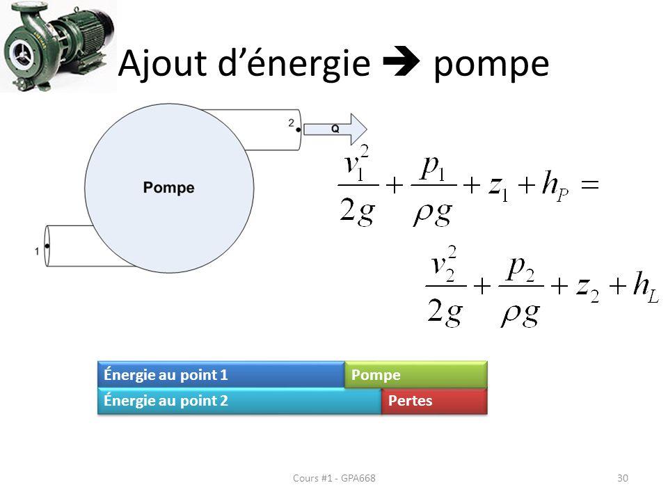 Ajout dénergie pompe Cours #1 - GPA668 Énergie au point 1 Énergie au point 2 Pertes Pompe 30