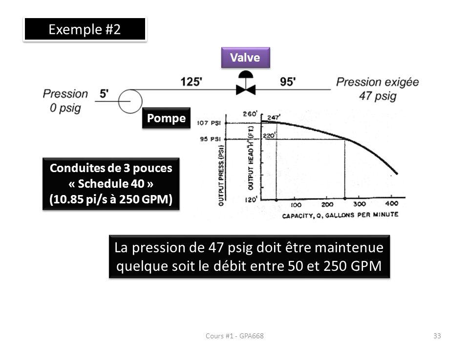 Cours #1 - GPA668 Exemple #2 Pompe Valve La pression de 47 psig doit être maintenue quelque soit le débit entre 50 et 250 GPM Conduites de 3 pouces « Schedule 40 » (10.85 pi/s à 250 GPM) Conduites de 3 pouces « Schedule 40 » (10.85 pi/s à 250 GPM) 33