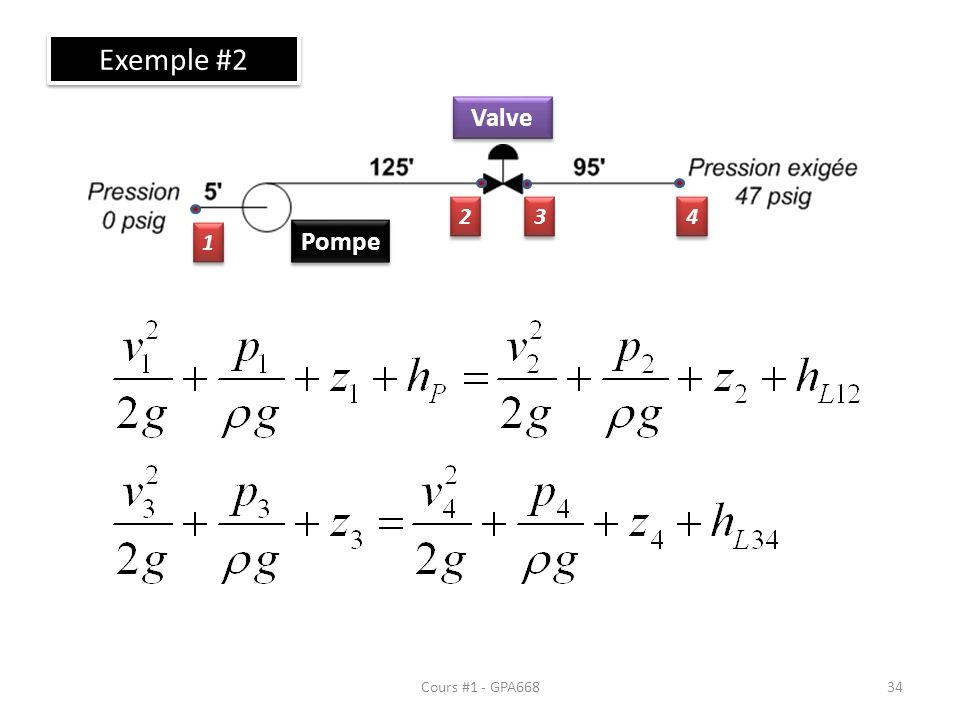 Cours #1 - GPA668 Exemple #2 Pompe Valve 1 1 2 2 3 3 4 4 34