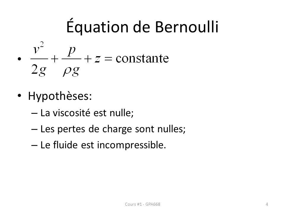 Équation de Bernoulli Hypothèses: – La viscosité est nulle; – Les pertes de charge sont nulles; – Le fluide est incompressible. Cours #1 - GPA6684